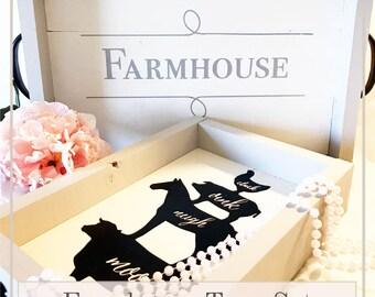 Rustic Farmhouse Tray Set