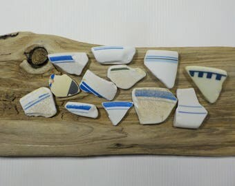 12 Old Sea Pottery - Beach Pottery Shards - Beach Finds - Old Patterned Beach Pottery#28
