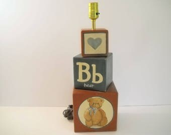 Block Lamp with Teddy Bear Red and Blue Blocks