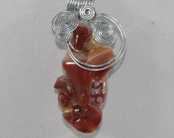 Natural Agates and wire wrapped pendant