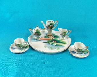 Miniature Vintage Hand Painted Tea Set Made In Occupied Japan