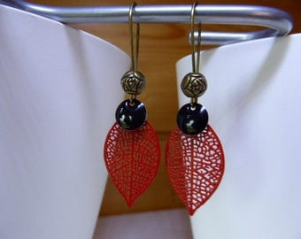 Red filigree leaf earring