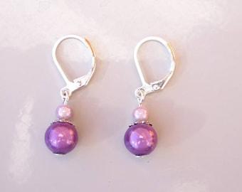 Earrings sleepers pink and purple miracle beads