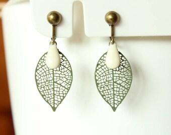 Khaki green filigree leaf and sequin white cream enamel clip earrings