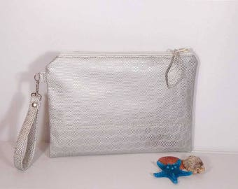 Bridesmaid clutch silver, Wedding bag, Evening clutch bag, Silver leather purse, gift for bridesmaids, wedding clutch for bride, accessory