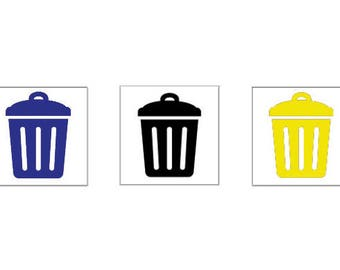 Trash cans sticker set 75 pieces