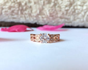 SALES -15%!!!!Pink gold color cubic zirconia ring size 6 engagement ring two rows,engagement ring , cubic zirconia ring