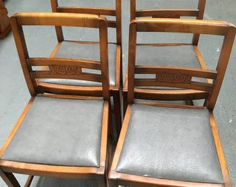 Four solid wood chairs vintage retro