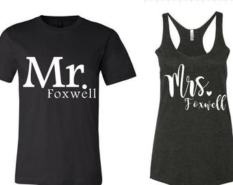 Mr and Mrs Triblend Shirts, Personalized