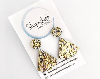 Chunky Silver & Gold Glitter Acrylic Earrings - Drop Earrings