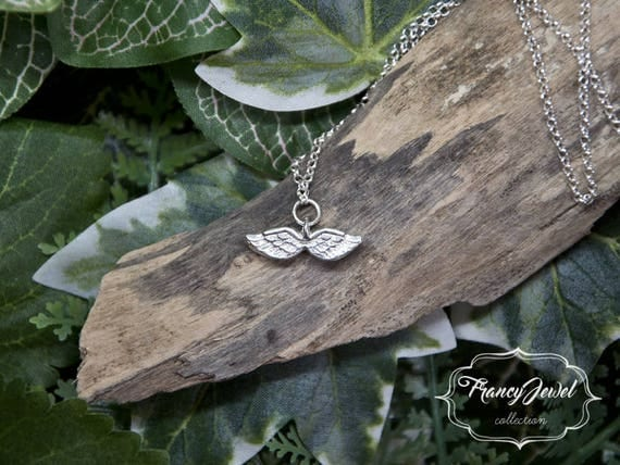 Silver angel necklace, dainty angel necklace, angel wing jewelry, memorial necklace, bridesmaid gift, wedding gift, bridal jewelry, birthday