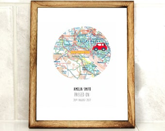 Passed driving test - driving test print - congratulations - new driver -  Personalize Map - custom print