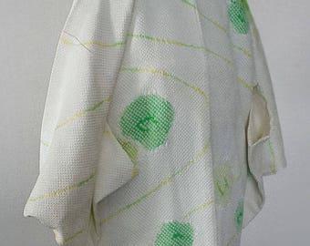 second hand Japanese haori kimono jacket for women, shibori, silk, off white, flower and water stream
