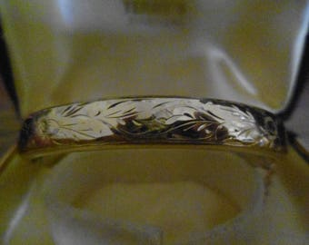 Vintage Rolled Gold and Silver Hallmarked Ladies Hinged Bangle