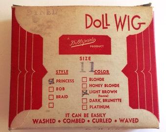 Vintage Dynel Dollspart Doll Wig, Princess Doll Wig NOS, Size 11 Doll Wig  -DS1