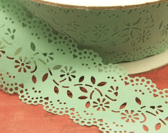 """Vintage Paper Lace Ribbon Trim - Yard Goods - 2.75"""" x 5 yards - Party Decorations - Craft - Scrap Booking - Gift Wrap - Light Mint Green"""