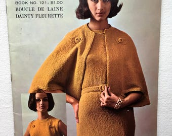 Bernat Knitting Book. Book no.121. Vintage Knit Magazine. 14 Patterns. Knit Dress Patterns. Knit Cha-cha Top Pattern. Boucle Yarn. 1964.