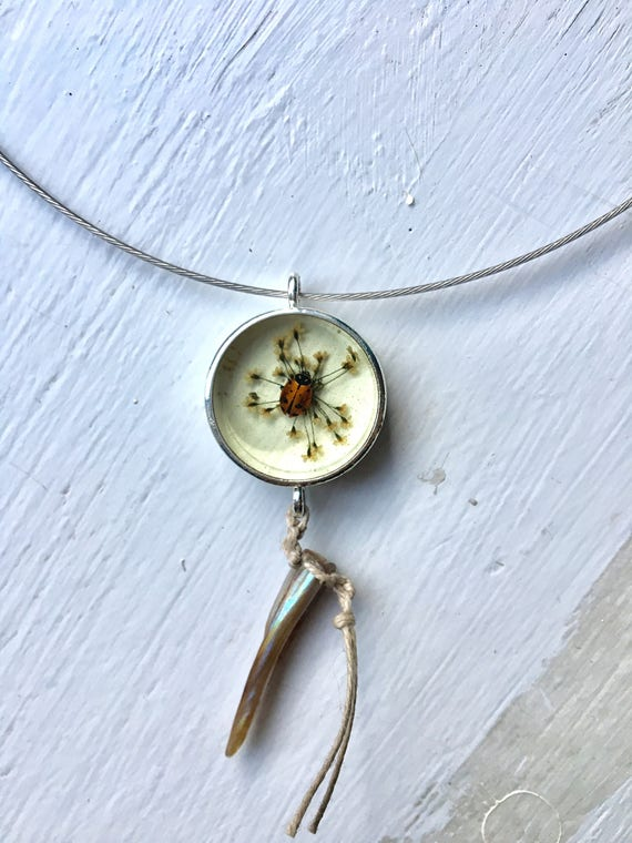 Real ladybug and Queen Anne's lace flower circle necklace