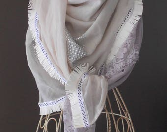 Cream scarf.  shiny, butterfly, lace in cream taupe tones. Gift Maman.fetes.echarpe femme.papillon.foulard femme.cadeau woman.