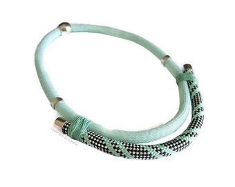 Necklace braided graphic and ethnic in shades of mint Green