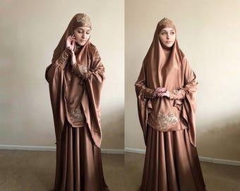 Elegant Muslim suit, Silk jilbab, wedding khimar, engagement islamic dress, nikah outfit, lace burqa
