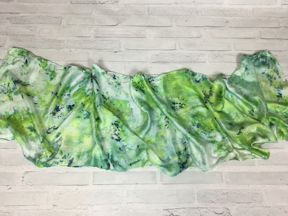 """100% Silk Scarf Ice Dyed in Beautiful Greens Artistic Watercolor Office Scarves 15""""x60"""" Oblong Rectangle Coworker Gift #149"""