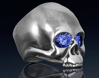 Sterling silver skull ring created sapphires, fine quality handmade mens rock n roll jewelry.  Our KEITH ring was inspired by Keith Richards