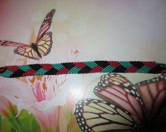 Braided Friendship Bracelet black red green