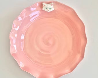 Handmade Scalloped Pink Ceramic Bowl with White Cat