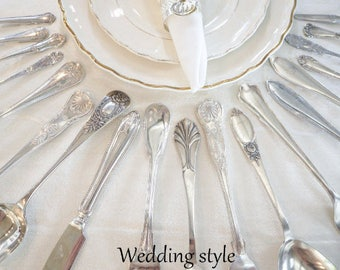 Mismatched Wedding Style silverware set, wedding silverware, silver plate flatware, Service for 4, 8, 12+, wedding cutlery, farmhouse decor