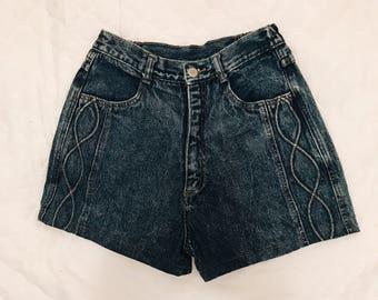 Vintage Denim High Waisted Acid Wash Shorts