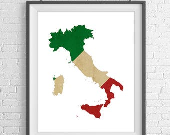 Italy Flag Map Print, Italian Flag Poster, Italy Map, Italy Silhouette, Italy Wall Art, Map of Italy Print, Italian Art, Italian Gifts