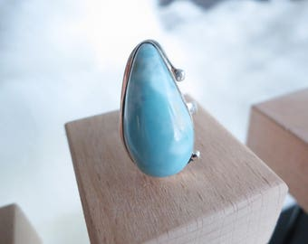 Size 4.25 Handmade Genuine Dominican Republic Larimar Sterling Silver Ring