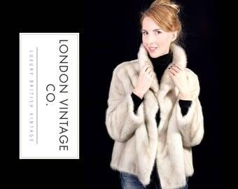Vintage 1950's/1960's off white/grey/silver/pearl mink real fur winter coat/jacket.small size.Winter wedding/vintage bride/vintage wedding