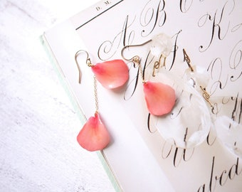 Coral Pink Petals 14K Gold Filled Asymmetrical Earrings [Pierced or Clip-on]
