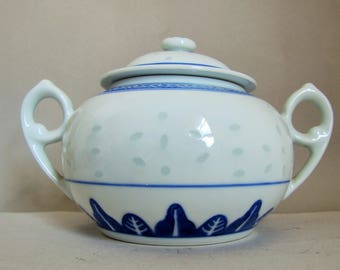 Chinese Blue White Rice Pattern Lidded Bowl, Twin Handles, Vintage Chinese Pot.