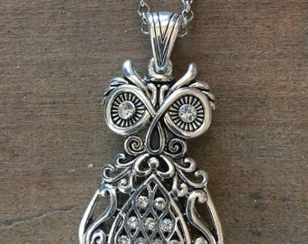 Owl Pendant Long Silver Necklace
