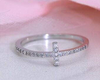 Cross Ring, Sterling Silver Cross Ring, Sideways Cross Ring, CZ Ring S102