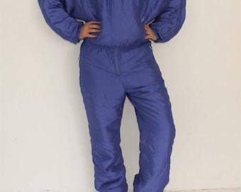 Vintage One Piece Ski Suit 80s Purple Snowsuit Hipster Winter Wear Purple Snow Gear Jumpsuit Snowboard Suit Made in Italy Medium to Large