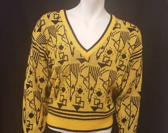 Vintage 80s CHERRY STIX Ltd Neon Yellow New Wave Graphics V Neck Sweater Geometric Print Size Small