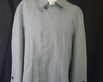 Vintage 60s Men's CLIPPER MIST Londontown Houndstooth All Weather Jacket Overcoat Fur Lined 38 Short Mod