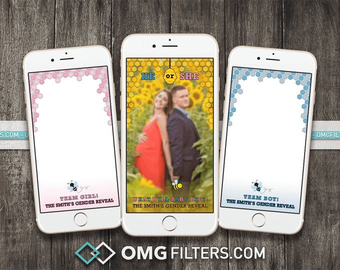 What will it BEE?! Gender Reveal - Custom Snapchat Filter - Choose from a Single Geofilter or a Pack of 3!