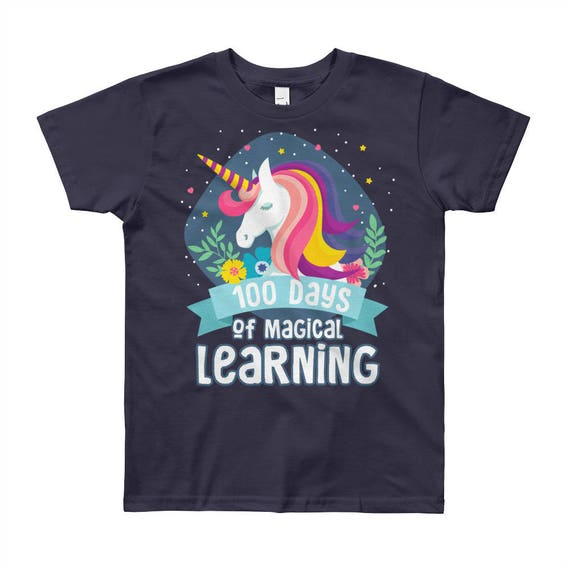 100 Days of Magical Learning Youth Short Sleeve T-Shirt | 100 days of School Shirt Unicorn | 100th Day of School | Happy 100th Day-Shirt