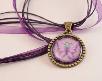 Fancy Purple Butterfly Necklace