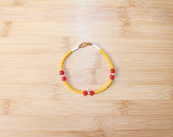 Red Carnelian Bracelet / Anklet - Beaded Bracelet - Gemstone