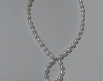 Beautiful handmade freshwater cultured pearl necklace in 925 Sterling silver