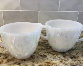 Vintage Creamer and Sugar Bowl made by the Federal Glass Company