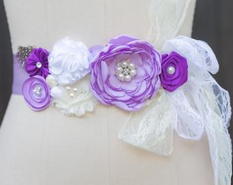 Dress Sash, Flower Girl Sash, Girls Floral Sash, Floral Sashes, Satin Sash, Flower Sash, Shabby Chic, Satin Flower Sash, Vintage Inspired
