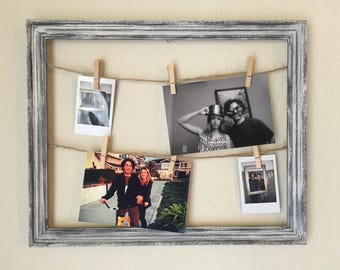 Rustic clothespin frame, white clothespin frame, farmhouse picture frame, shabby chic picture frame, rustic picture frame, rustic wedding