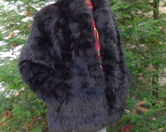 Lovely warm  vintage black fox fur  jacket coat - Sz  S  - Chaud manteau de renard noir - Petit